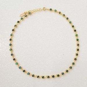 Peacock beaded link chain choker necklace